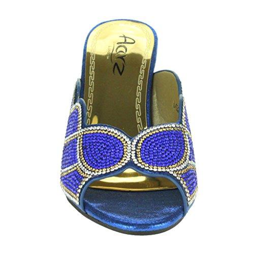 Frau Damen Kristall Geschmückt Blockabsatz Peep Toe Schlüpfen Abend Hochzeit Braut Party Prom Sandalen Schuhe Größe Dunkelblau