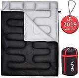 Ohuhu Groß Doppelte Schlafsack 218 x 150cm Erwachsene Deckenschlafsack mit 2 Gratis Kissen und eine Tragetasche, Vier Doppel Zippern, angenehme Temperatur: -5 °C/ 20F ~ 10 °C/ 50F für Camping