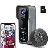Video Türklingel mit Kamera, AWOW 1080P HD Video Doorbell mit 16GB Speicherkarte, Gegensprechfunktion, 1 Innen-Gong, 2 Wiederaufladbare Batterie, IP65 Wasserdicht, Bewegungsmelder, WLAN 2,4 GHz