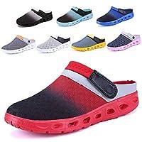 CCZZ Men Women Summer Breathable Clogs Shoes Slip on Beach Sandals Mesh Aqua Shoes Casual Slippers Water Shoes Amphibious for Unisex Red-1 3.5 UK 36 EU