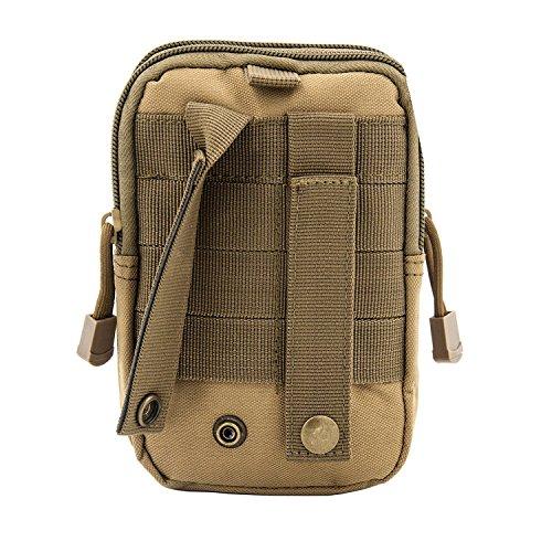 Bylove Tactical sacchetto Edc Utility gadget cintura marsupio con porta cellulare fondina per iPhone 6Plus, ACU camouflage Khaki
