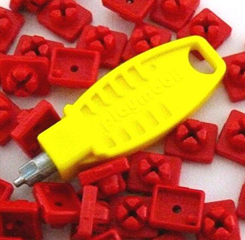 Preisvergleich Produktbild playmobil ® - 21x X System Noppen Stecker Steckverbinder - 20x rot / 1 Schlüssel Steckschlüssel - gelb