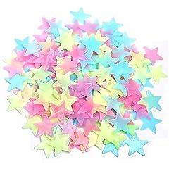 Idea Regalo - Lezed 100 Stelle Luminose Fluorescente Adesivo da Parete con Lungo Luminosità Stelle Fosforescenti per il Soffitto Adesivi da Parete Fluorescenti per la Camera dei Bambini fai da te Adesivi Luminosi
