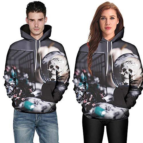 TWBB Damen Herren Halloween Paare Hoodies Slim Fit 3D Digital Bedruckte Kapuzenpullover Langarm Fashion Graphic Mantel Outwear Sweatjacke