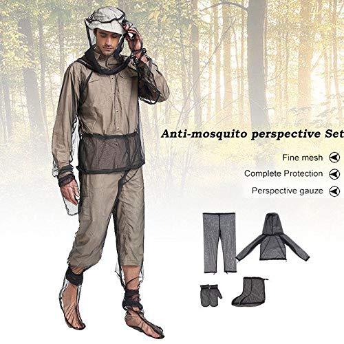 AUOKER Zeckenanzug, Moskito Anzug Mückenschutz Kleidung Inklusive Kopfbedeckungen, Handschuhe, Hosen, Fußabdeckung für Outdoor und Camping -