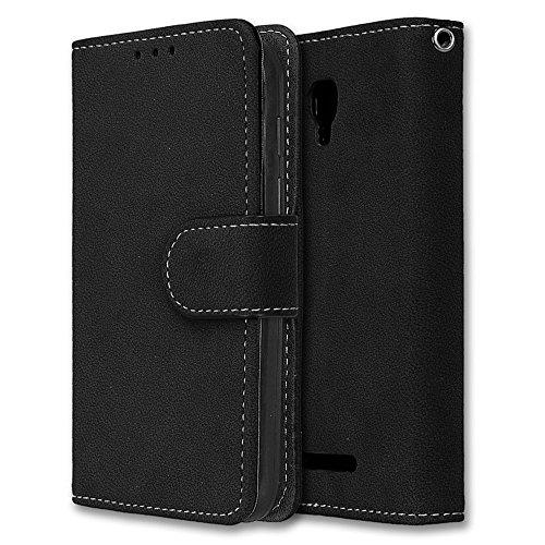 Alcatel Pixi First Hülle, Chreey Matt Leder Tasche Retro Handyhülle Magnet Flip Case mit Kartenfach Geldbörse Schutzhülle Etui [Schwarz]