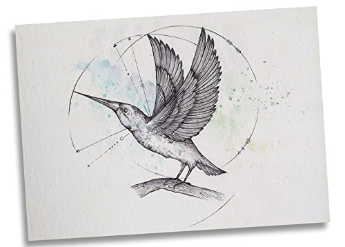 Ligarti Postkarte Eisvogel - Premium Bambus Papier 350g - 100% Handmade in Deutschland - Tiere Vogel Nager Mandala, Postkarte, Zeichnung, Grußkarte, Deko, Geschenkkarte, Einladung