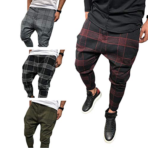 Shawnlen Männer Skinny Hose Casual Slim Fit Track Pants Patchwork Plaid Trainingsanzug Bottoms Jogger Lange Hose M-3XL (M, grau)