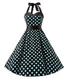 Dresstells Neckholder Rockabilly 1950er Polka Dots Punkte Vintage Retro Cocktailkleid Petticoat Faltenrock Black Blue Dot 3XL