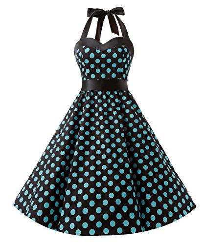 Rock Frauen Kostüm N Roll - DRESSTELLS Neckholder Rockabilly 1950er Polka Dots Punkte Vintage Retro Cocktailkleid Petticoat Faltenrock Black Blue Dot S