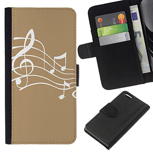 Graphic4You Musik Noten Muster Design Brieftasche Leder Hülle Case Schutzhülle für Apple iPhone 5C (Braun) Hellbraun