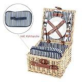 Picknickkorb mit Kühltasche, blau-weiß gestreift, Picknick-Set für 2 Personen, 15 Teile