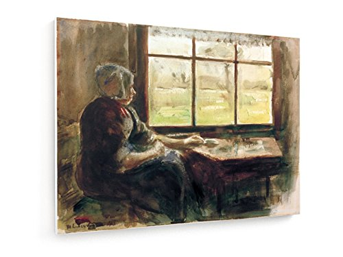 Max Liebermann, Holländische Frau am Fenster - 80x60 cm - Textil-Leinwandbild auf Keilrahmen - Wand-Bild - Kunst, Gemälde, Foto, Bild auf Leinwand - Alte Meister / Museum