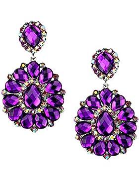 Schmuckanthony Abend Ball Boho Lange Ohrclips Clip On Clips Ohrringe Acryl Magenta Violett Purple Kristall Aurora...