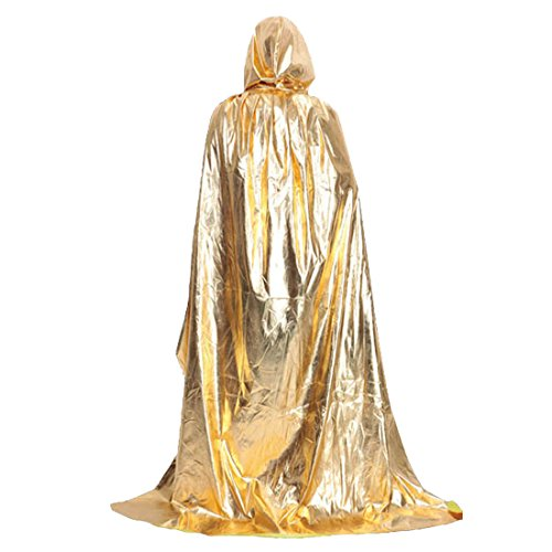 (Damen Herren Halloween Umhang Satin Karneval Fasching Kostüm Cosplay Cape mit Kapuze Halloween Kostüm (Gold,M=130cm))