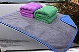 Hope Shine Profiqualität Mikrofasertücher Auto Putztuch Auto Reinigungstuch Poliertücher Wachs Handtuch (3-Pack 51X71cm(Blau+Grün+Lila)-grau)