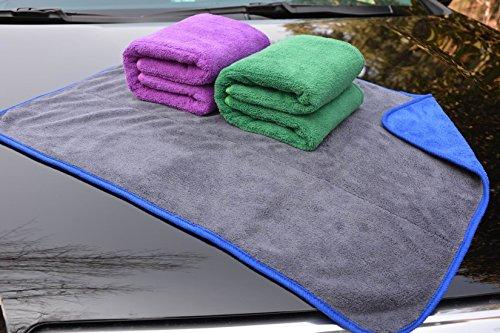 Preisvergleich Produktbild Hope Shine Profiqualität Mikrofasertücher Auto Putztuch Auto Reinigungstuch Poliertücher Wachs Handtuch (3-Pack 51X71cm(Blau+Grün+Lila)-grau)