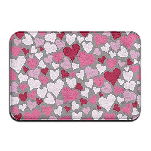 ferfgrg Paillasson Pink Heart Indoor Outdoor Paillassons Super Absorbs Mud Dirt Easy Clean 15.7\