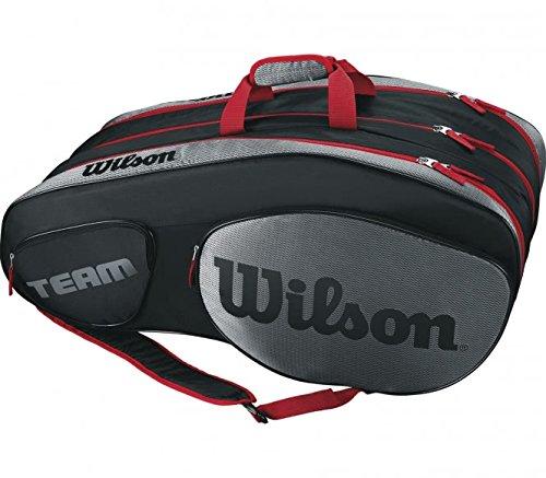 Wilson Damen/Herren Tennis-Tasche, für Profispieler, Team III 12 PK, Einheitsgröße, Schwarz/Grau, WRZ853812