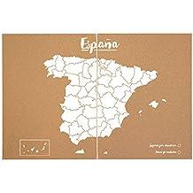 Miss Wood Woody Map XXL - Mapa del mundo de corcho con diseño España , color blanco