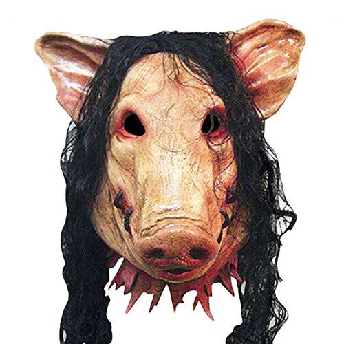 illumafye Latex Schwein Maske Erwachsene Unisex Halloween Kostüm Cosplay Geschenk Haar Horror Schwein Scary Tier Maske