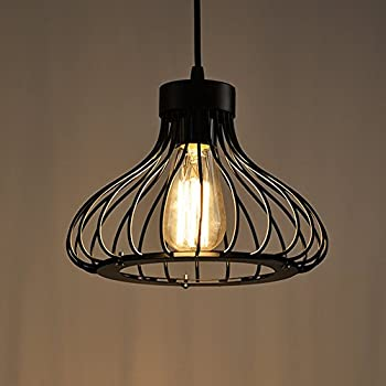 R tro metal suspension noir cage industriel vintage - Amazon luminaire suspension ...