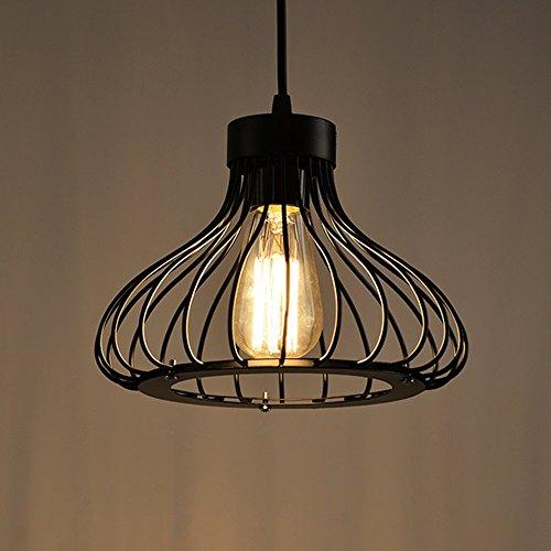 Rétro Metal Suspension Noir Cage Industriel Vintage Suspensions Luminaire Métal Retro Antique Suspensions Luminaire Cage Edison Culot E27 Plafonnier Luminaire
