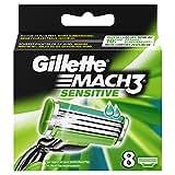 Gillette Mach3 Sensitive Lames de Rasoir pour Homme Peaux Sensibles 8 Recharges