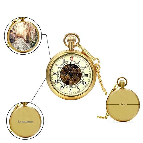 LANCARDO Taschenuhr Vintage Herren Damen Uhr Analog mit Kette Weihnachten Geschenk egv-093