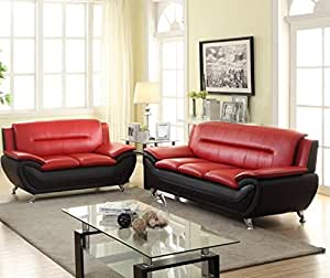 Platinum Modern Contemporary Luxury Faux Leather 3+2 Seater Full Sofa Set - 3 Colour Choices (Black & Red)