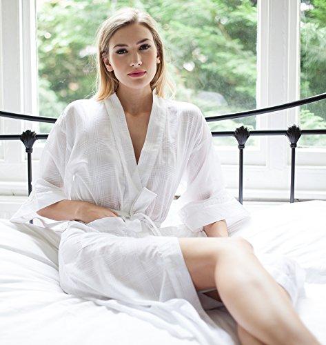 100% Baumwolle Morgenmantel 'Nakai' Kimono Wrap von Cottonreal - Weiße Baumwolle Robe Weiß