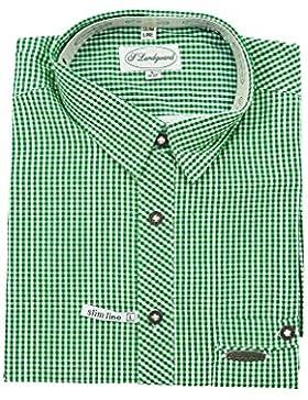 Landgwand Kleinkarierte Trachtenhemd Herrentrachtenhemden Rot Grün Blau Weiße Trachtenhemden Slim Line Gr.37-42