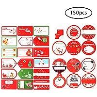 Etiquetas adhesivas de Navidad, 75 unidades, etiquetas adhesivas para regalo, de tamaño grande, etiquetas para regalos de vacaciones, papel de regalo y bolsas de regalo (modelos surtidos), de Qorol