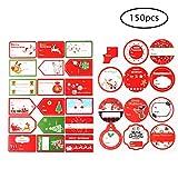 Qorol, 75 adesivi natalizi per etichette regalo, grandi, per vacanze, regali, carta da regalo e sacchetti regalo (motivi assortiti)