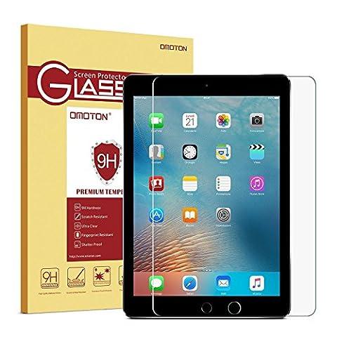 New iPad 9.7 2017/ iPad Air 1 /Air 2 / iPad Pro 9.7 Protection En Verre Trempé, OMOTON Ecran Protecteur Pour Apple iPad [2.5D Bord Arrondi]