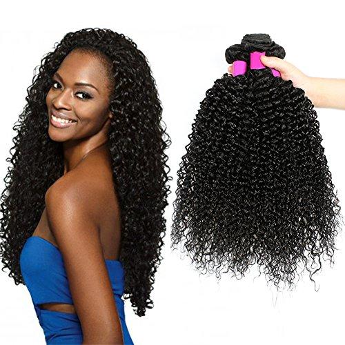 8A brésilien crépus cheveux bouclés 3 faisceaux brésiliens cheveux bouclés brésiliens cheveux Virgin extension mixte longueur 8-26 inch naturel noir (16 18 20 Inch)
