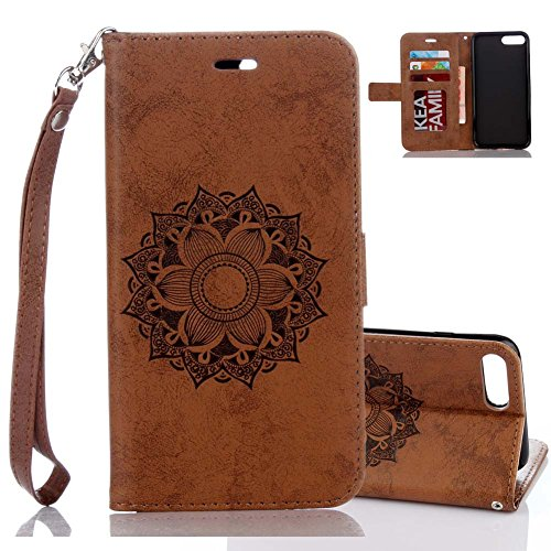 Aeeque® iPhone 7 plus Kaffee Brieftasche,iPhone 7 plus Flip Skin Schale,[Cute Tier Panda Muster] Kartenfach Standfunktion Schutzhülle für iPhone 7 PLUS 5.5 Zoll mit Abnehmbar Handy Lanyard und Weich S Datura Braun