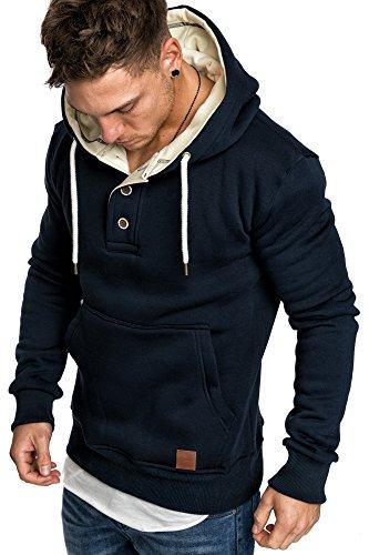 Amaci&Sons Herren High Neck Kapuzenpullover Sweatjacke Pullover Hoodie Sweatshirt 4024 Navyblau L