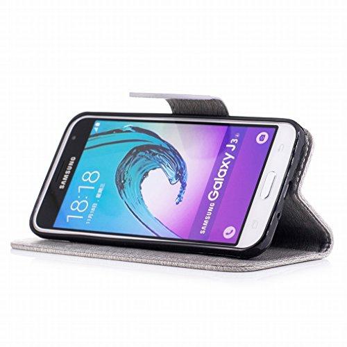 Custodia Samsung Galaxy J3 (2016) / J320 Cover, Ougger Farfalla Stampa Portafoglio PU Pelle Magnetico Morbido Silicone Flip Bumper Protettivo Gomma Shell Borsa Custodie con Slot per Schede (Viola) Grigio