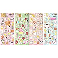 Asian108Markets Cute Pet with Dog Cat Rabbit Pig Penguin Bear Panda and Seal (4 Different Sheets Reusable Puffy Decorative Scrapbooking Sticker) -SET079-PET