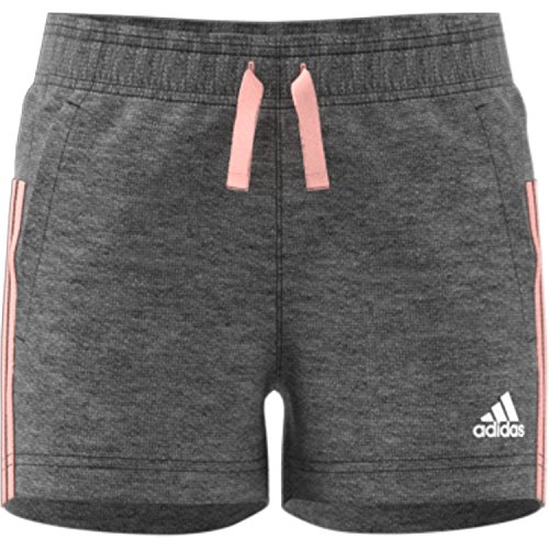 adidas Mädchen Yg 3S Shorts, Dark Grey Heather/Haze Coral/White, 128