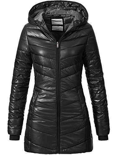 SUBLEVEL Damen gefütterter Steppmantel Mantel Stepp Wintermantel Mantel Damenmantel 44246C Schwarz L