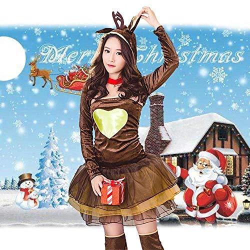 KAIDILA Weihnachten Kostüme Sexy Cosplay Weihnachten Elch Weihnachten Erwachsene Rentier Kostüm Kurze Ärmel Cosplay - Sexy Rentier Kostüm