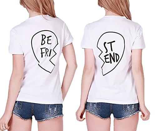 *Best Friends T-shirt JWBBU ® Guter Freund Herz T-shirt mit Aufdruck für zwei Damen Mädchen Sommer Weiß Schwarz Oberteil Geburtstagsgeschenk Jahrestagsgeschenk 2 Stücke (BE-S+ST-S, Weiß)*
