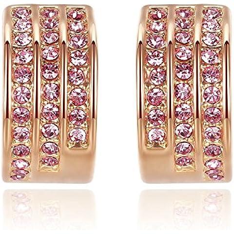 GoSparking rosa di cristallo oro rosa 18 carati placcato orecchini della lega Anelli con cristallo austriaco per le donne