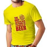 T-Shirt pour Hommes Avoir Peur de ne Pas Avoir de bière - pour la fête, Les Chemises à Boire (Medium Jaune Rouge)