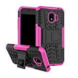 SANHENGMIAO COVER For sansung cellphone, Hy-mode dual hybrid armored fence 2 in 1 shockproof case lid samsung GalaxyJ2 PRO 2018 (Color : Pink)