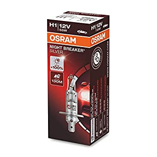OSRAM NIGHT BREAKER SILVER H1, +100% mehr Helligkeit, Halogen-Scheinwerferlampe, 64150NBS, 12V Pkw, Faltschachtel (1 Lampe)