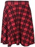 Purple Hanger - Jupe évasée style patineuse pour femmes carreaux écossais tartan taille élastique - Rouge, 50-52