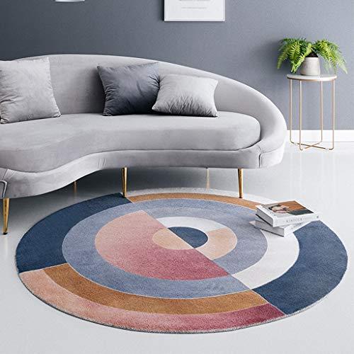 Slow Time Shop Wohnzimmer runder Bereich Teppich, geometrische Moderne rutschfeste weiche Teppich Läufer Teppich Bodenmatte für Sofa Schlafzimmer Home Decor (Color : B, Size : 120cm) (8 Ft Runde Bereich Teppich)
